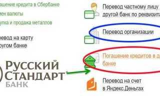 Как оплатить кредит Русский стандарт через Сбербанк Онлайн